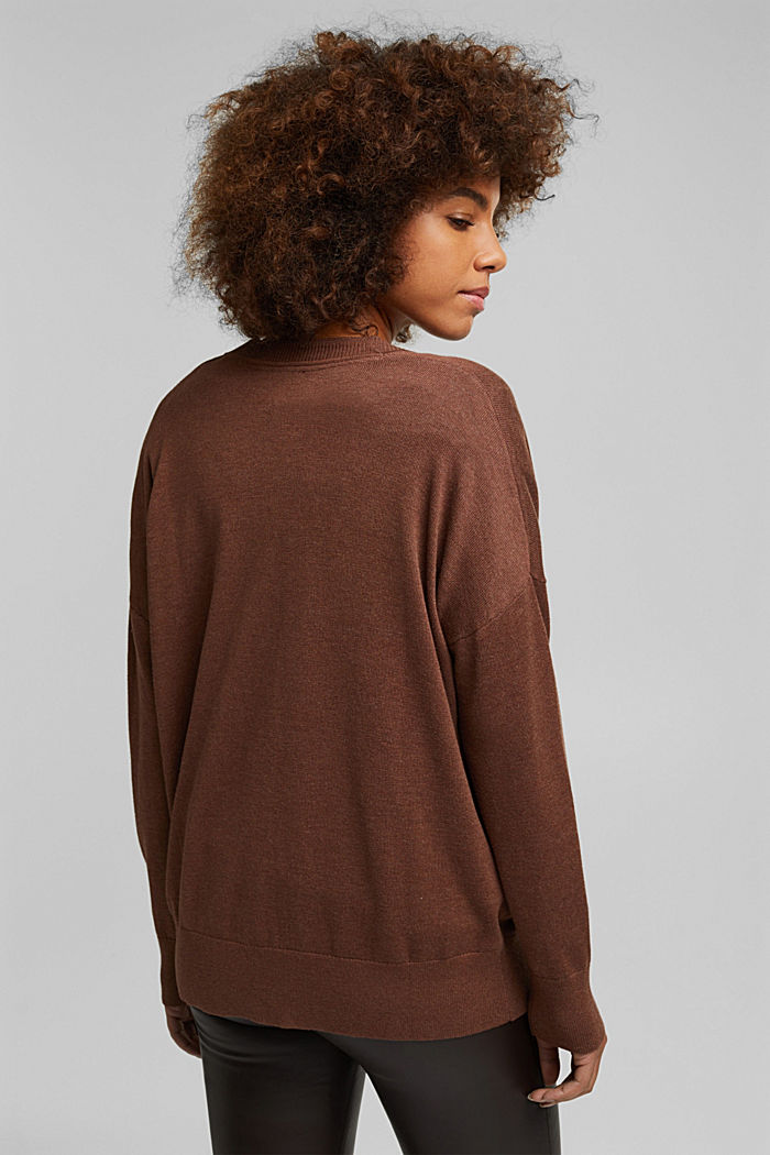 Cardigan with organic cotton, BROWN, detail image number 3