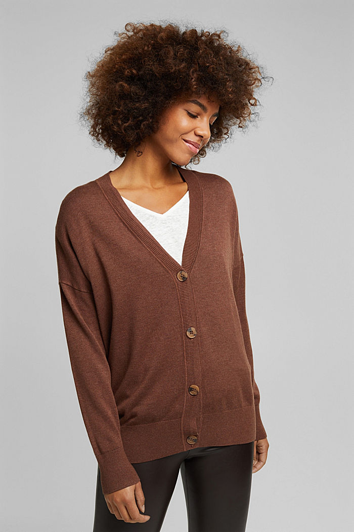 Cardigan with organic cotton, BROWN, detail image number 5