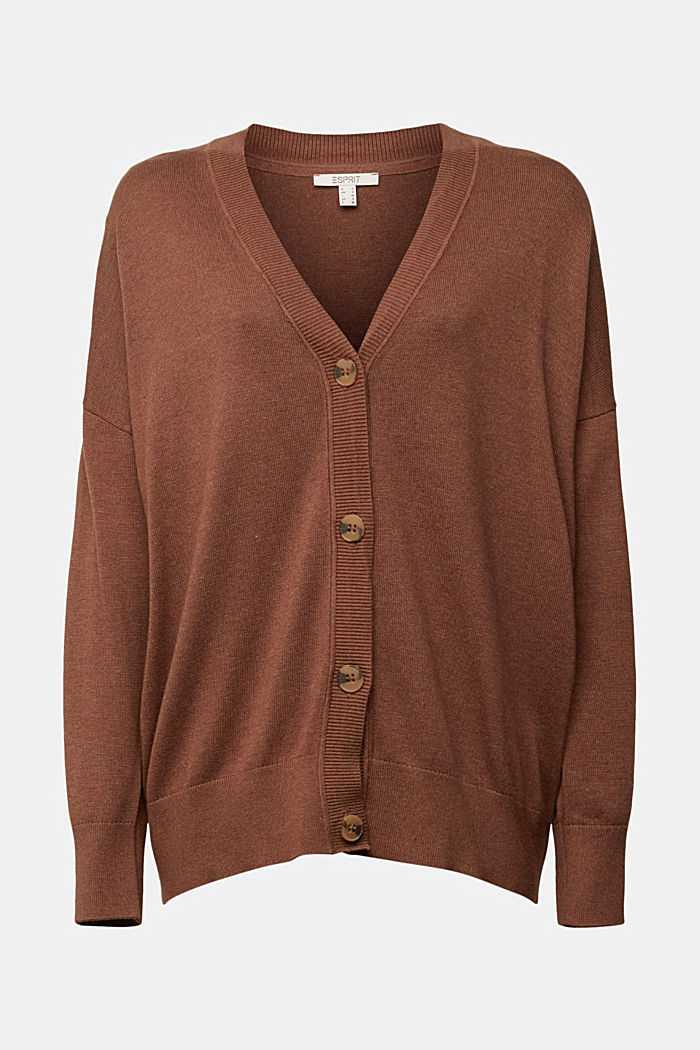 Cardigan with organic cotton, BROWN, detail image number 6