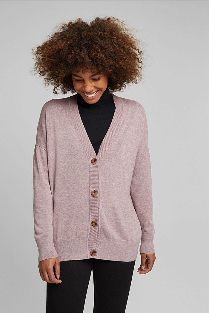 Cardigan with organic cotton, MAUVE, detail image number 0