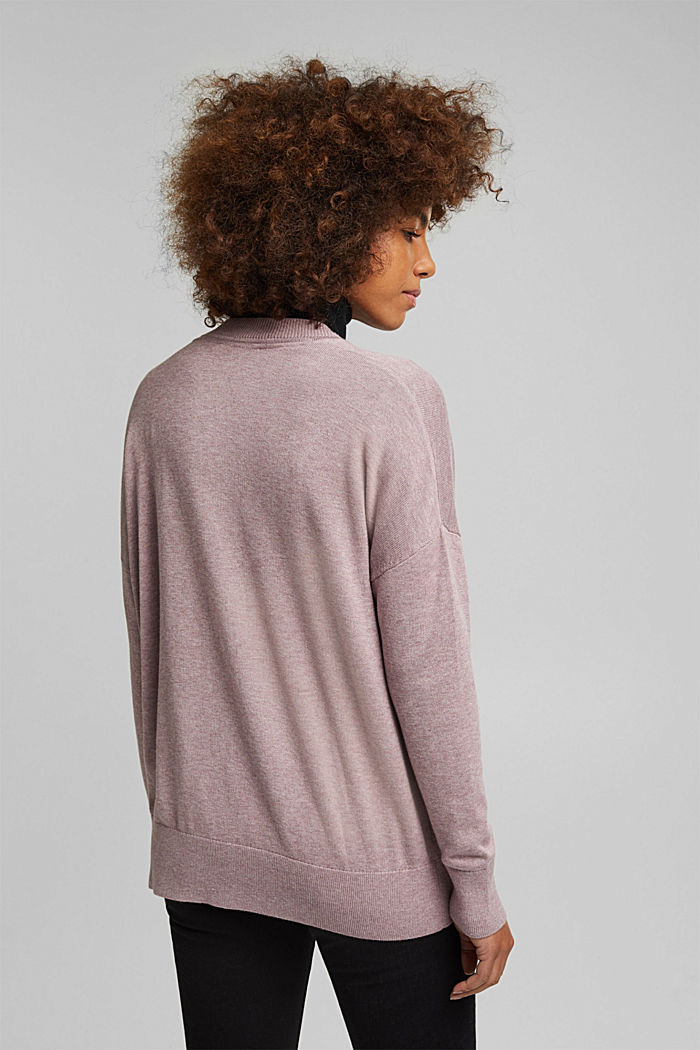 Cardigan with organic cotton, MAUVE, detail image number 3