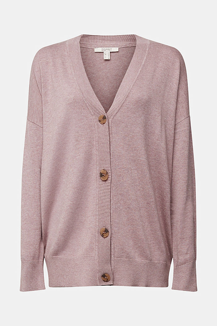 Cardigan with organic cotton, MAUVE, detail image number 5