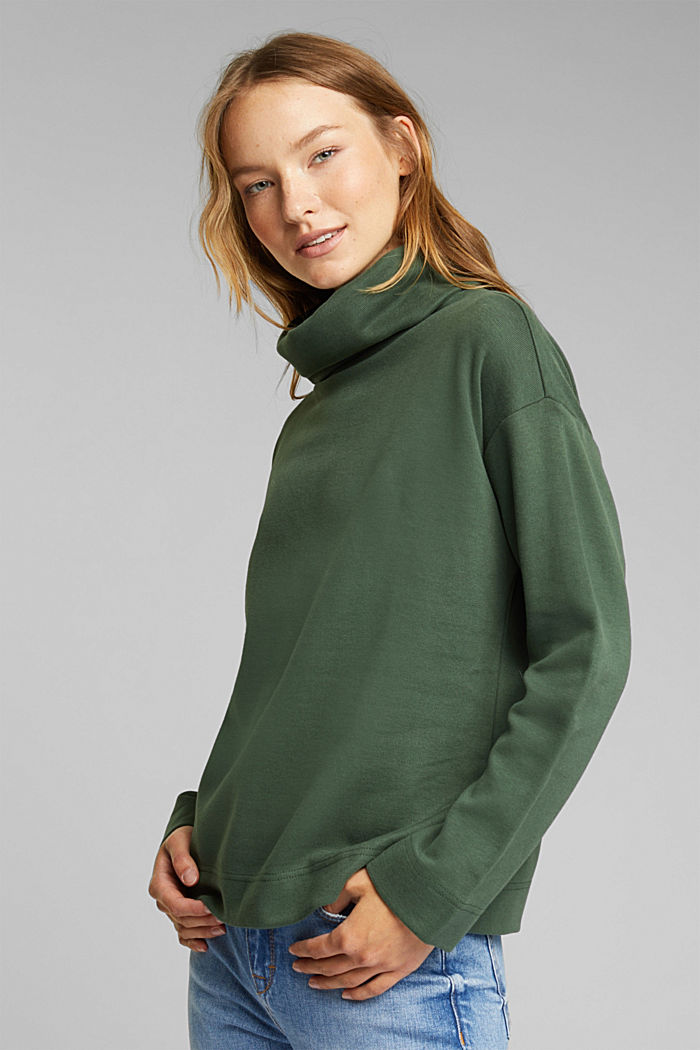 Recycled: Sweatshirt with organic cotton, DARK GREEN, detail image number 0