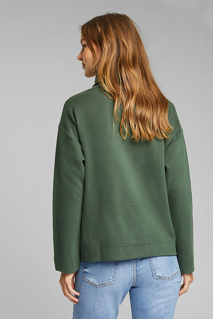 Recycled: Sweatshirt with organic cotton, DARK GREEN, detail image number 3