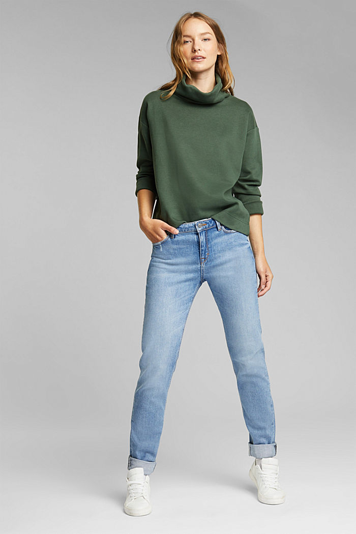 Recycled: Sweatshirt with organic cotton, DARK GREEN, detail image number 1