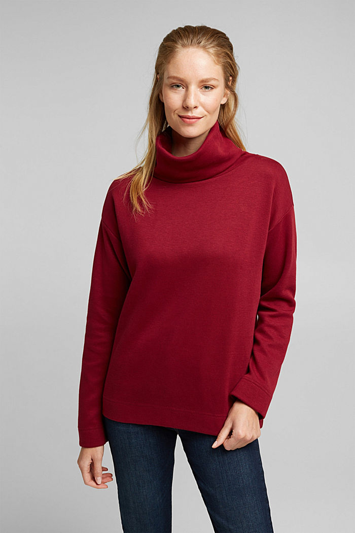 Recycled: Sweatshirt with organic cotton, BORDEAUX RED, detail image number 0