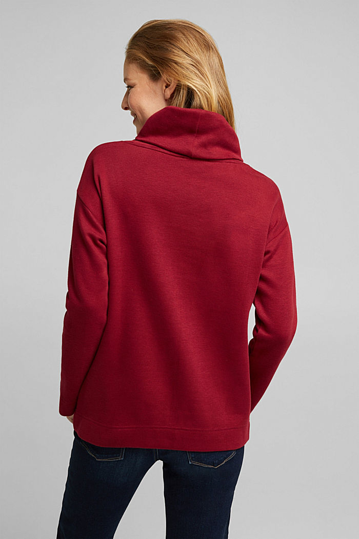 Recycled: Sweatshirt with organic cotton, BORDEAUX RED, detail image number 3