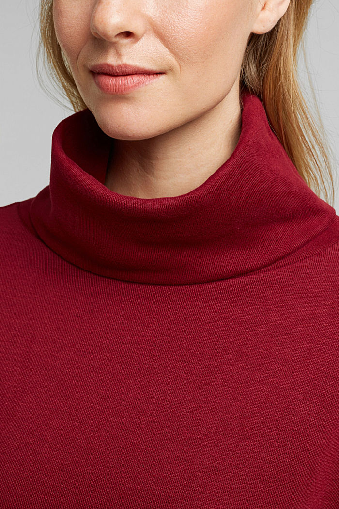 Recycled: Sweatshirt with organic cotton, BORDEAUX RED, detail image number 2