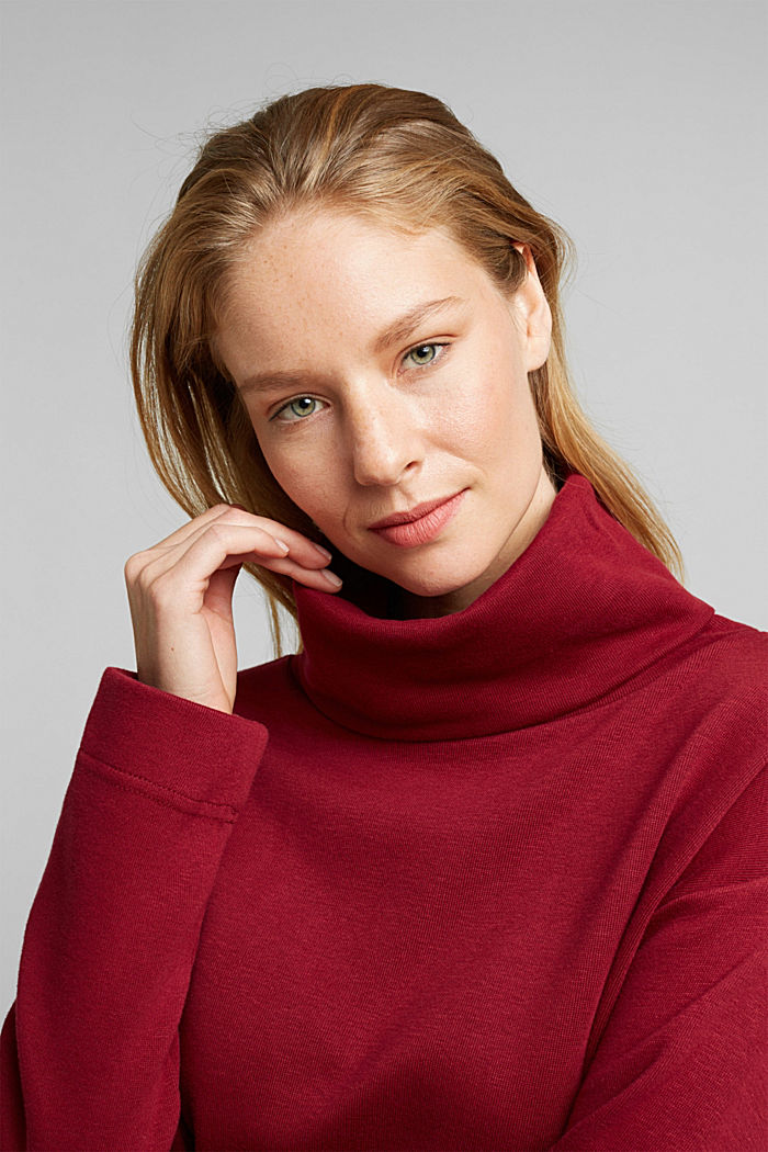 Recycled: Sweatshirt with organic cotton, BORDEAUX RED, detail image number 5