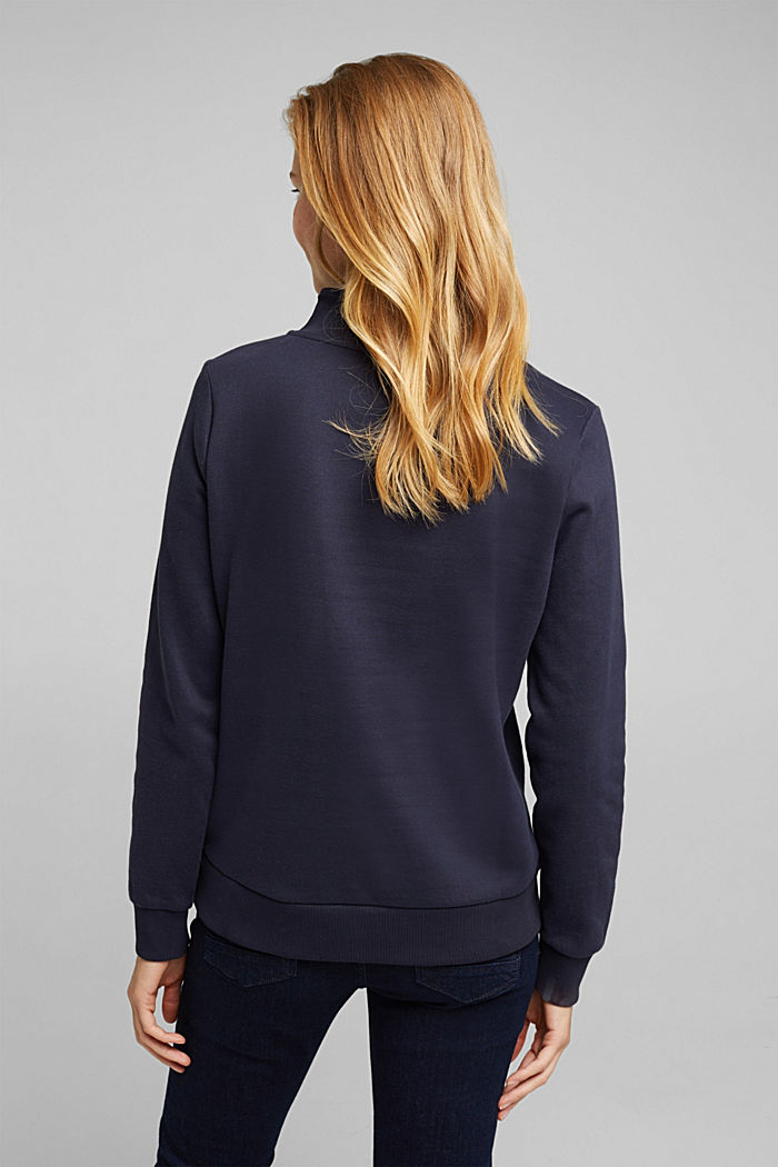 Zip-neck sweatshirt containing organic cotton, NAVY, detail image number 3