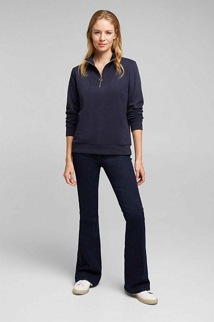 Zip-neck sweatshirt containing organic cotton, NAVY, detail image number 1