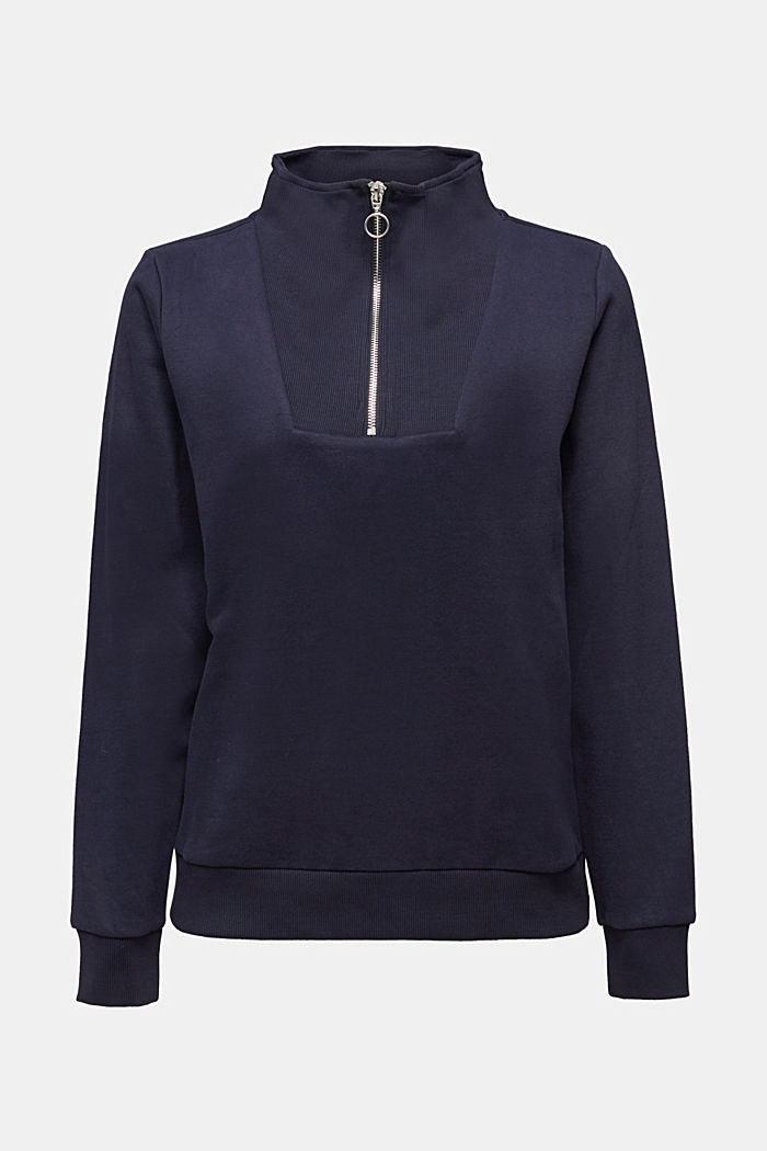 Zip-neck sweatshirt containing organic cotton
