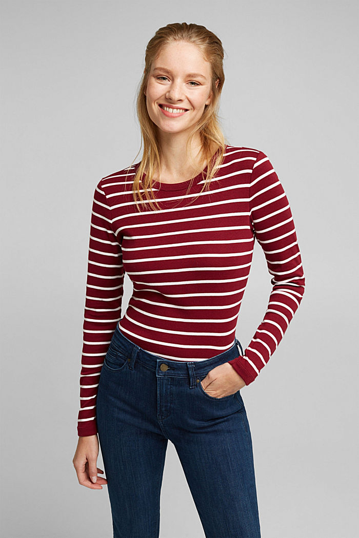 Long sleeve top made of 100% organic cotton, BORDEAUX RED, detail image number 0