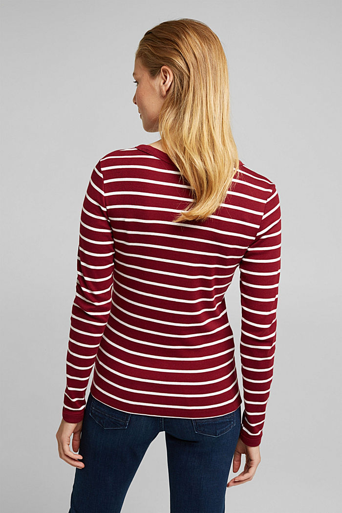 Long sleeve top made of 100% organic cotton, BORDEAUX RED, detail image number 3