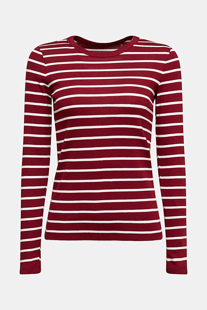 Long sleeve top made of 100% organic cotton, BORDEAUX RED, detail image number 6