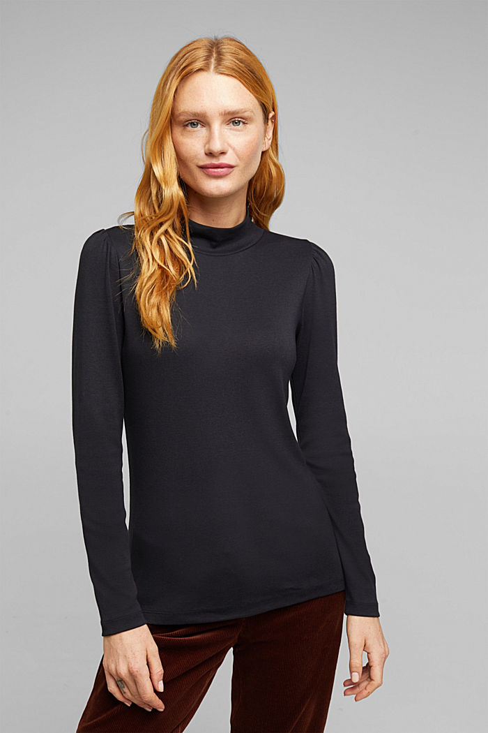 Jersey long sleeve top with organic cotton, BLACK, detail image number 0