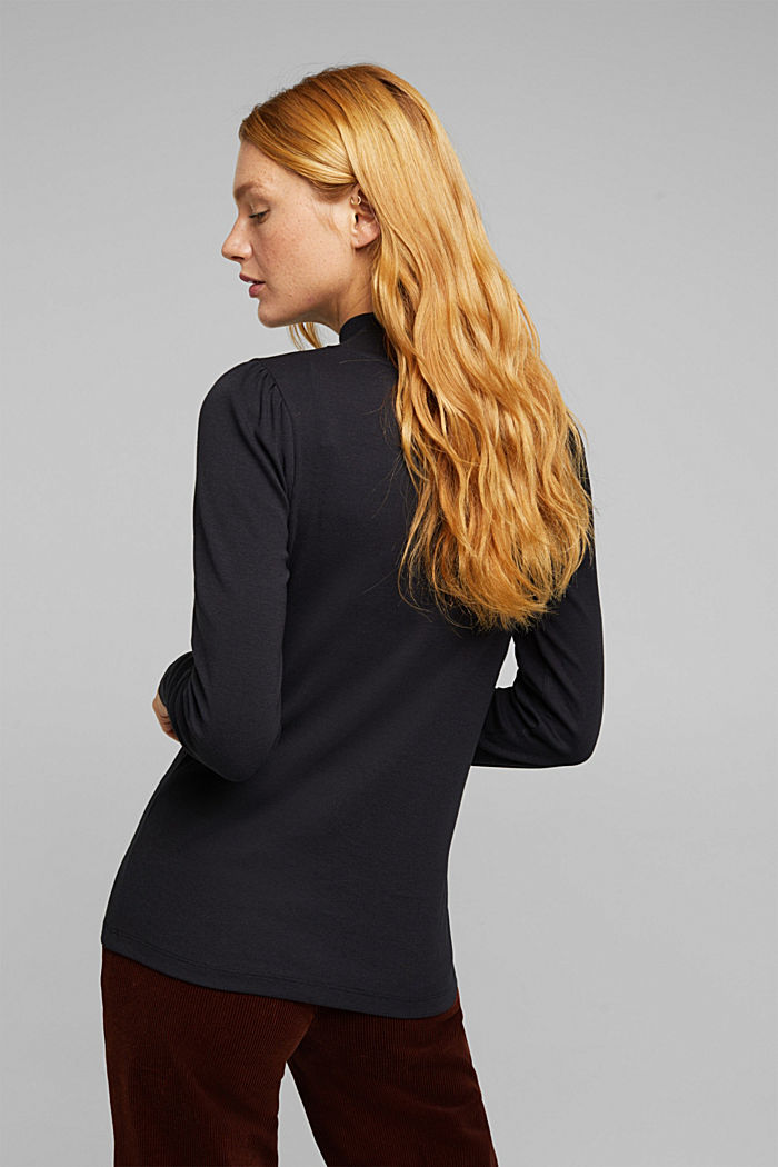 Jersey long sleeve top with organic cotton, BLACK, detail image number 3