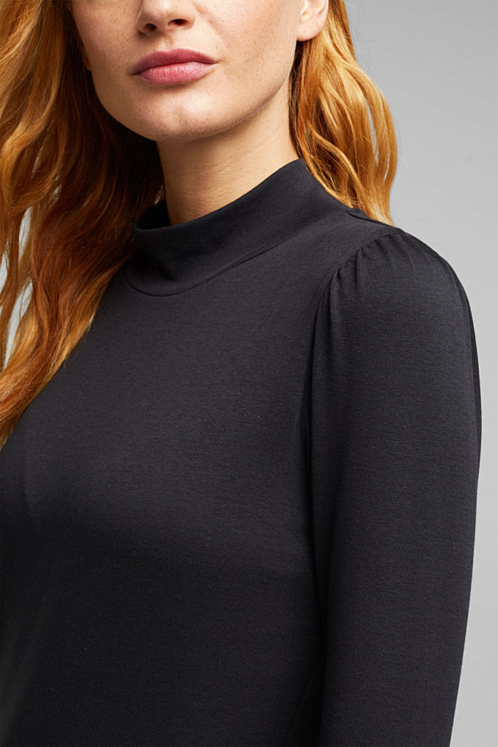 Jersey long sleeve top with organic cotton, BLACK, detail image number 2