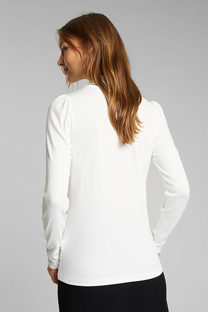 Jersey long sleeve top with organic cotton, OFF WHITE, detail image number 3