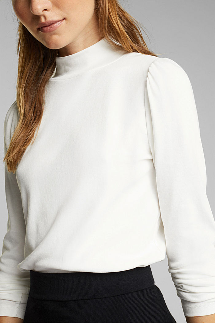 Jersey long sleeve top with organic cotton, OFF WHITE, detail image number 2