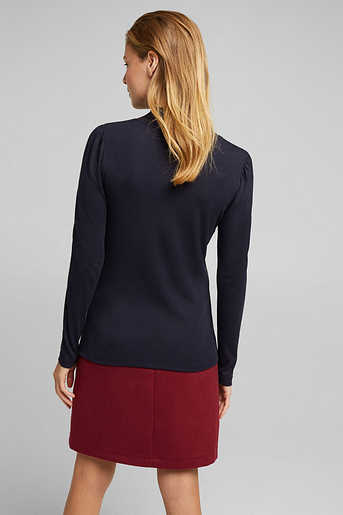 Jersey long sleeve top with organic cotton, NAVY, detail image number 3