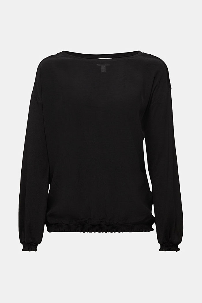 Long sleeve top with LENZING™ ECOVERO™, BLACK, detail image number 5