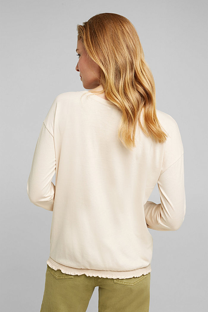 Long sleeve top with LENZING™ ECOVERO™, CREAM BEIGE, detail image number 3