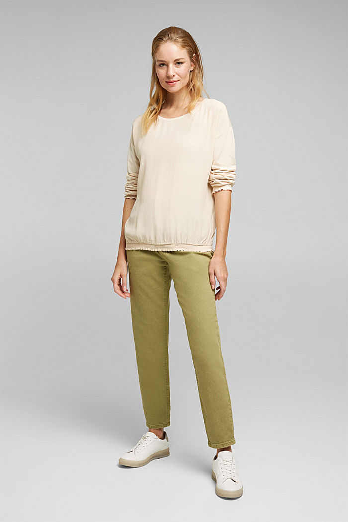 Long sleeve top with LENZING™ ECOVERO™, CREAM BEIGE, detail image number 1