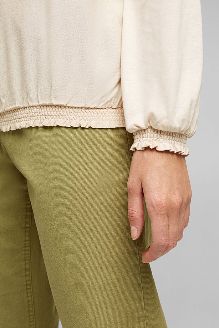 Long sleeve top with LENZING™ ECOVERO™, CREAM BEIGE, detail image number 5