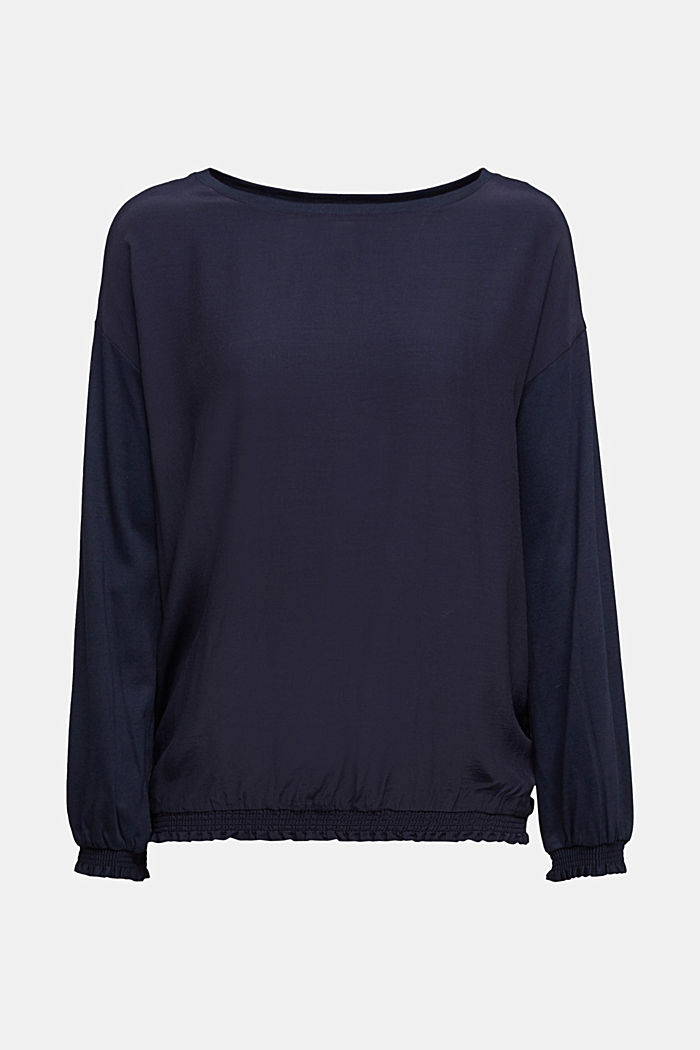 Long sleeve top with LENZING™ ECOVERO™, NAVY, detail image number 5