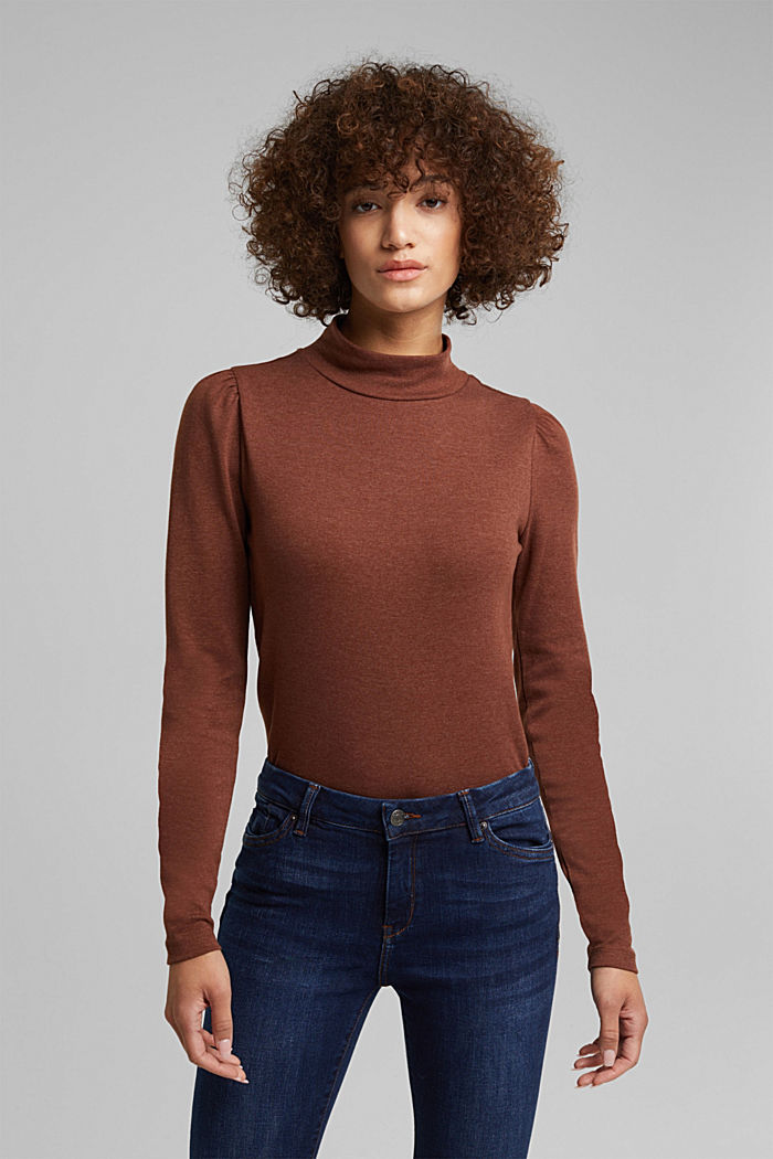 Long sleeve top with organic cotton, BROWN, detail image number 0
