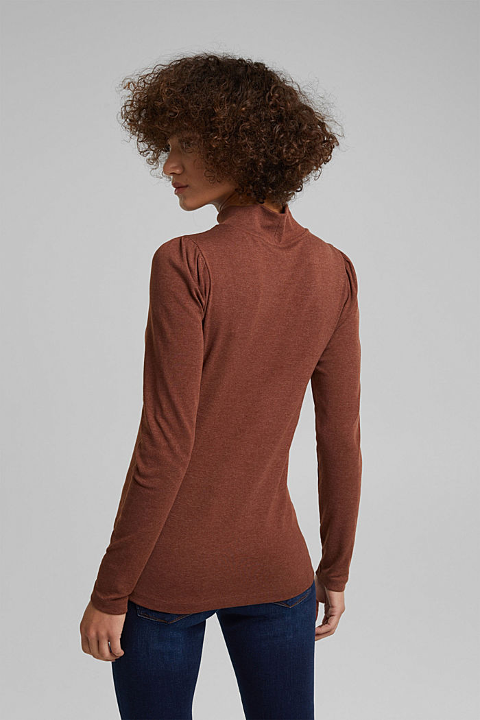Long sleeve top with organic cotton, BROWN, detail image number 3