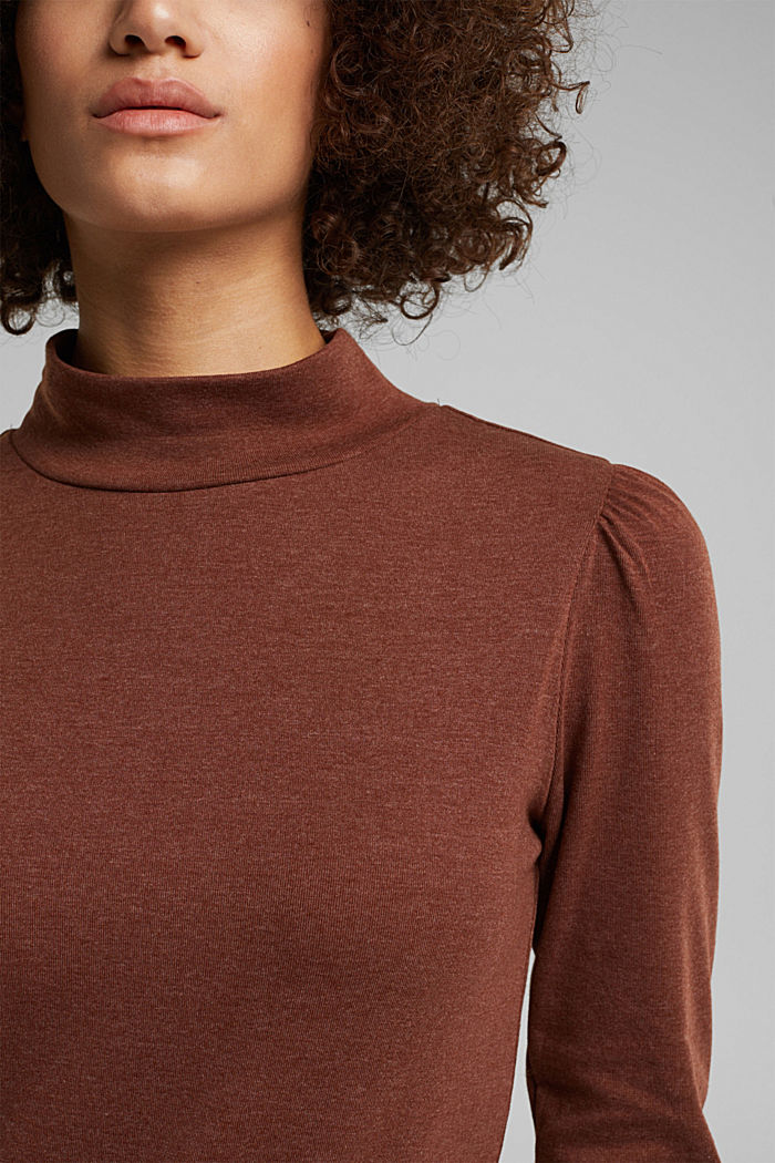 Long sleeve top with organic cotton, BROWN, detail image number 2