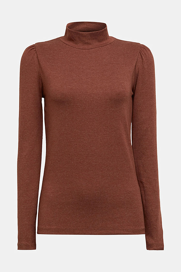 Long sleeve top with organic cotton, BROWN, detail image number 5