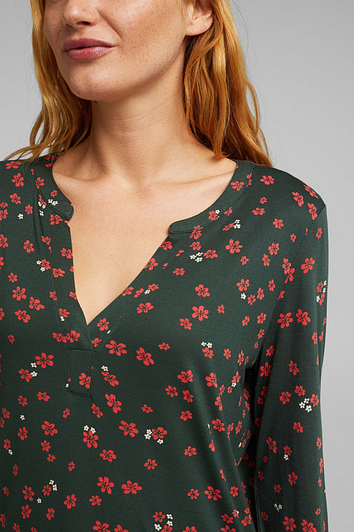 Jersey blouse made of LENZING™ ECOVERO™, DARK GREEN, detail image number 2