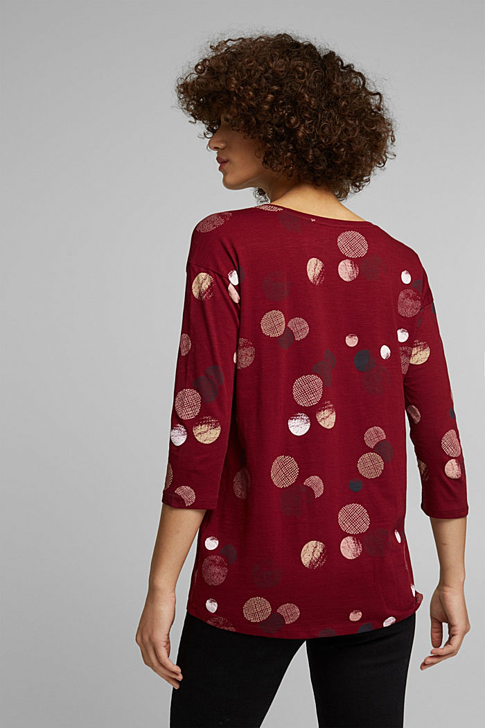 Long sleeve printed top, 100% organic cotton, BORDEAUX RED, detail image number 3
