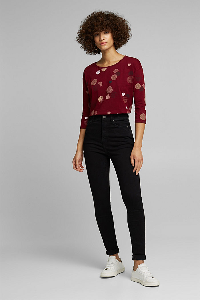 Long sleeve printed top, 100% organic cotton, BORDEAUX RED, detail image number 5