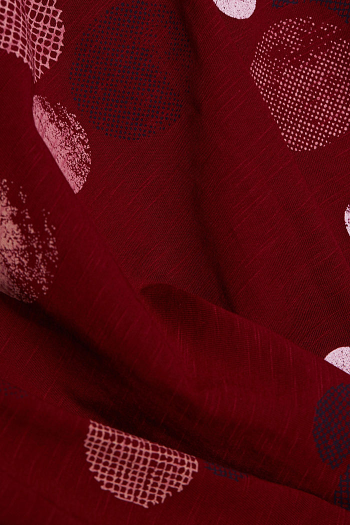 Long sleeve printed top, 100% organic cotton, BORDEAUX RED, detail image number 4