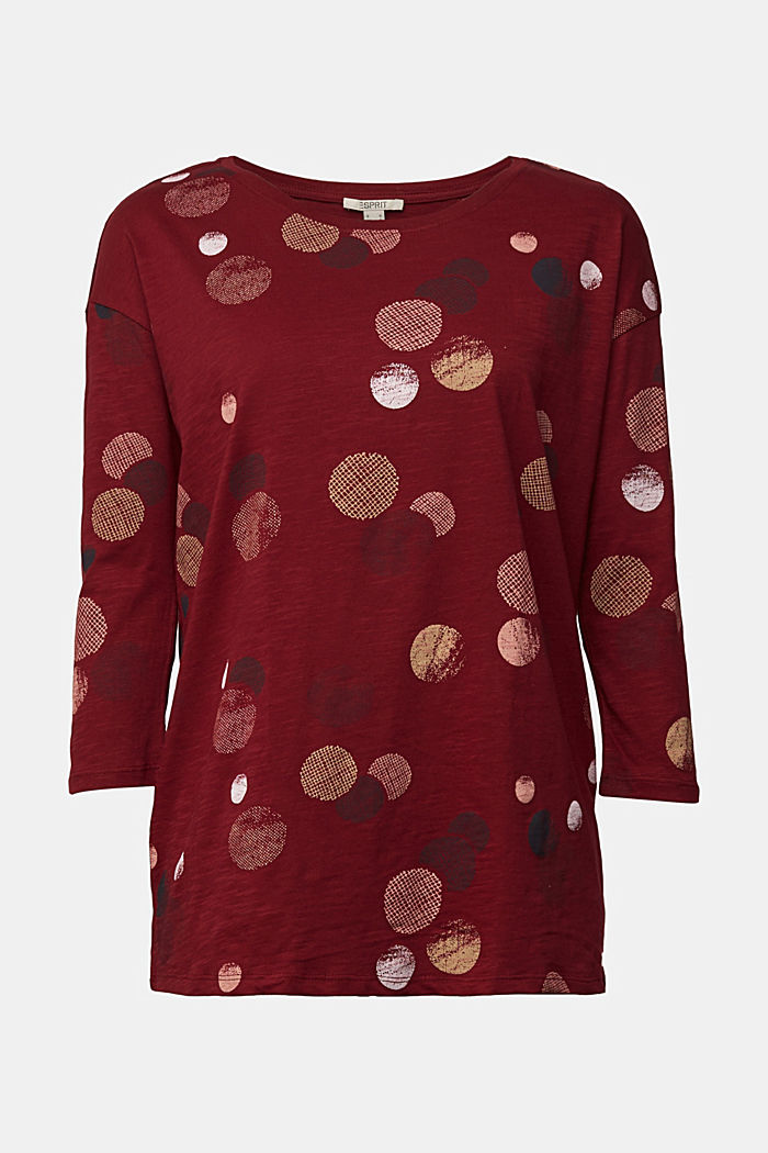 Long sleeve printed top, 100% organic cotton, BORDEAUX RED, detail image number 6