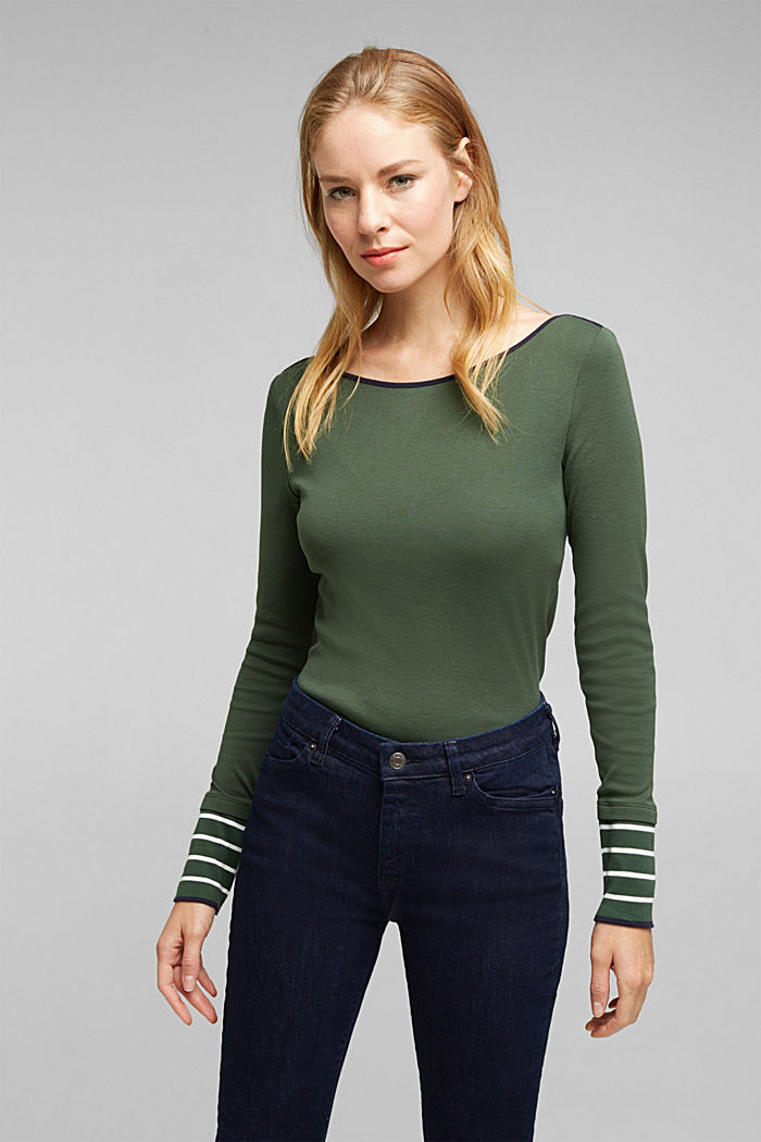 Long sleeve top made of 100% organic cotton, DARK GREEN, detail image number 0