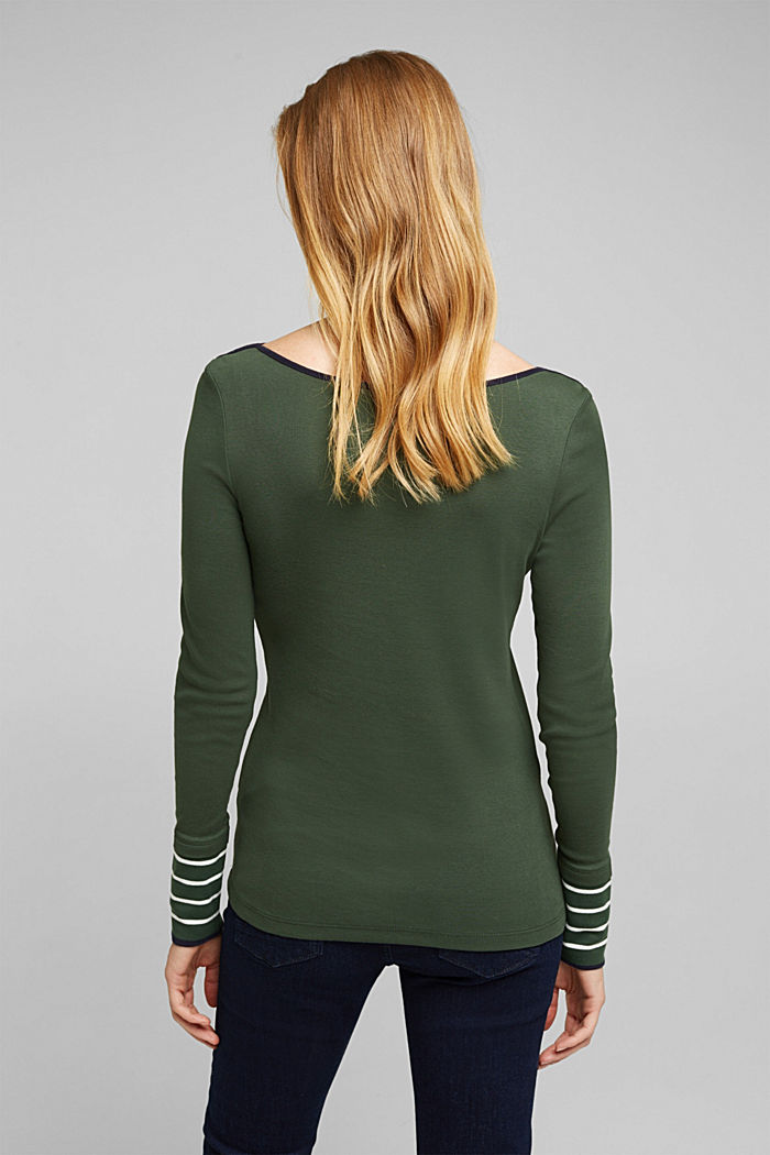 Long sleeve top made of 100% organic cotton, DARK GREEN, detail image number 3