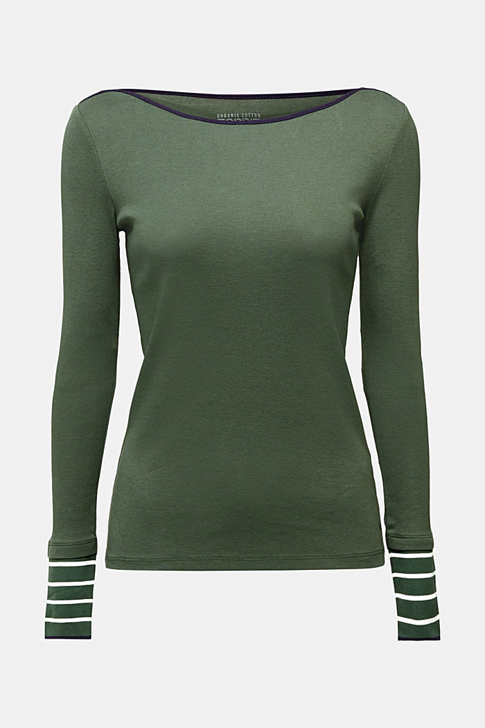 Long sleeve top made of 100% organic cotton, DARK GREEN, detail image number 6