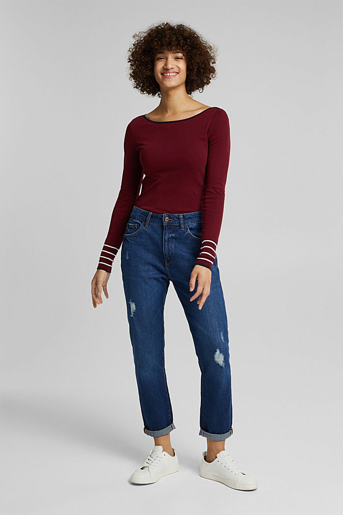 Long sleeve top made of 100% organic cotton, BORDEAUX RED, detail image number 4