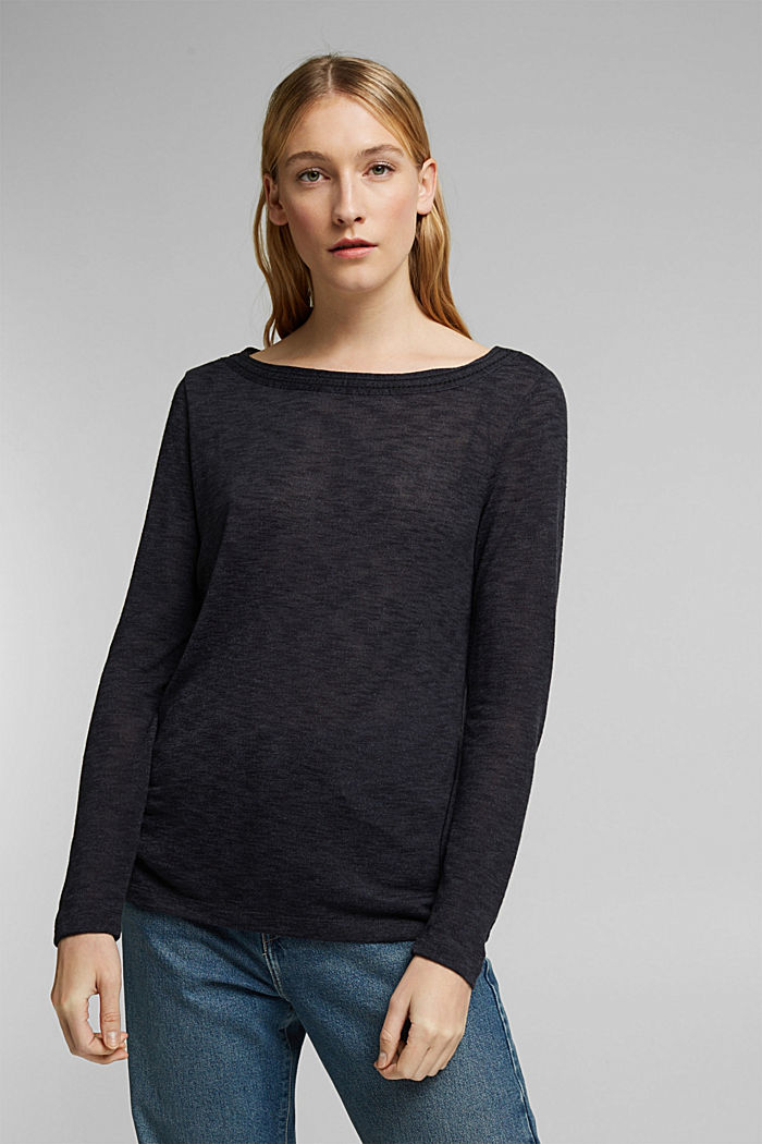 Long-sleeve top with broderie anglaise, GUNMETAL, detail image number 0