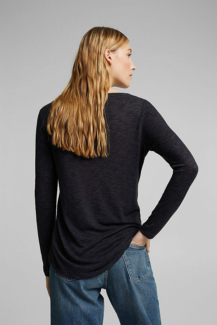 Long-sleeve top with broderie anglaise, GUNMETAL, detail image number 3