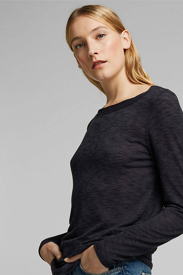 Long-sleeve top with broderie anglaise