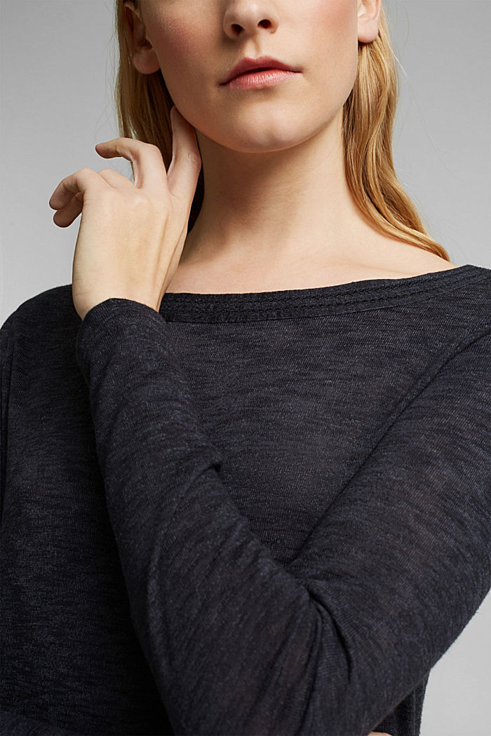 Long-sleeve top with broderie anglaise, GUNMETAL, detail image number 2