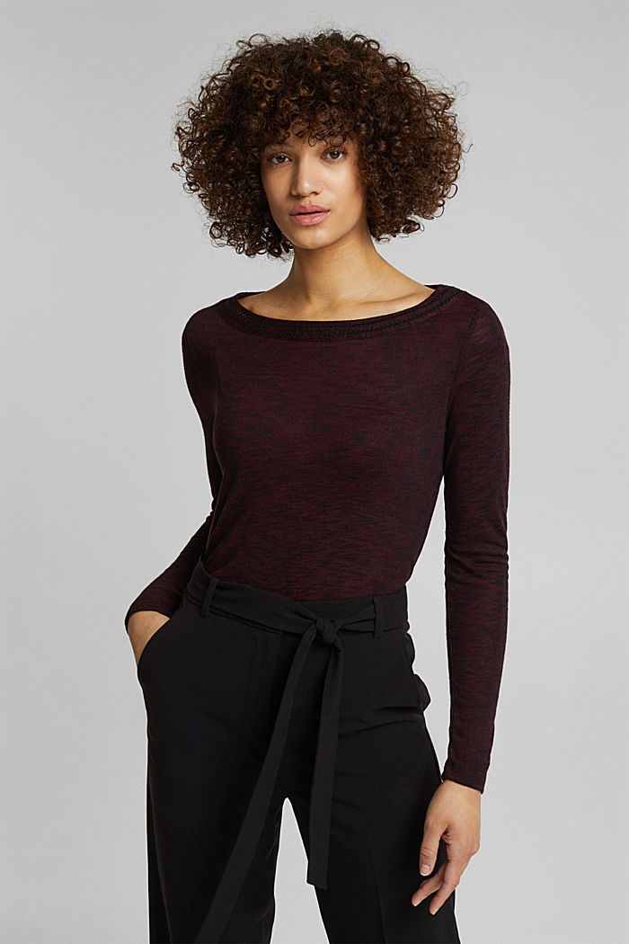 Long-sleeve top with broderie anglaise, BORDEAUX RED, detail image number 0