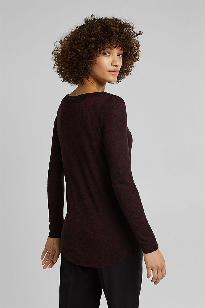 Long-sleeve top with broderie anglaise, BORDEAUX RED, detail image number 3