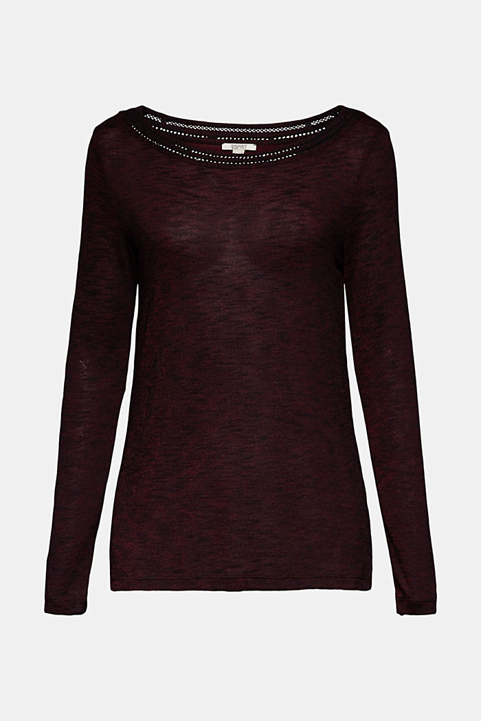 Long-sleeve top with broderie anglaise, BORDEAUX RED, detail image number 5